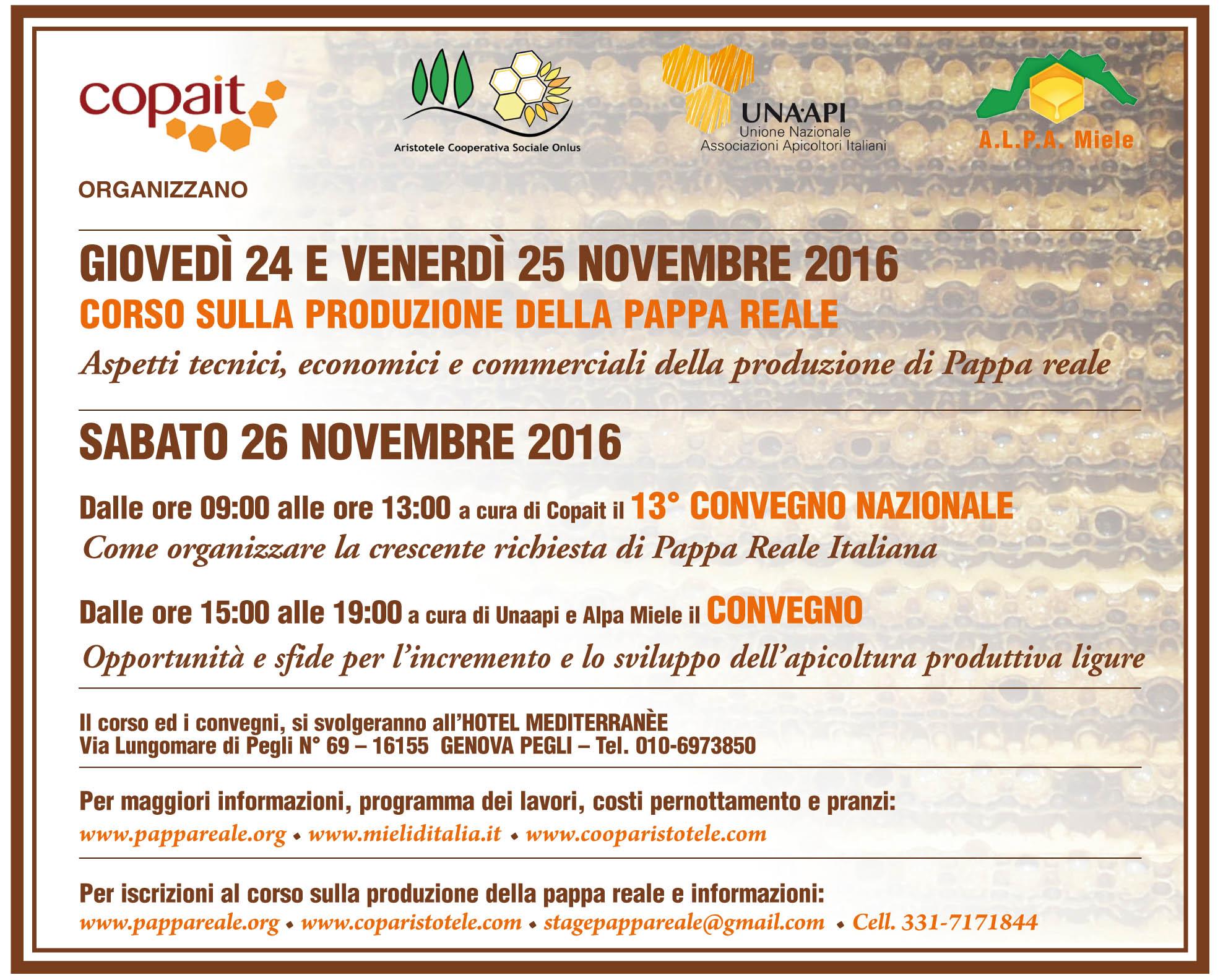 PROGRAMMA Corso Pappa Reale, 13° Convegno Copait e Convegno Unaapi